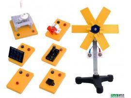 אנרגיה מקיפה כוללת תא סולרי על בסיס +שבשבת על בסיס+זמזם על בסיס+מנורה על בסיס +גנרטור ידני מפעיל+ 6 חוטי חיבור