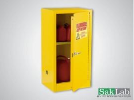 ארון אחסון חומרים דליקים 16 גלון צהוב כולל מדף 46*61*112 ס